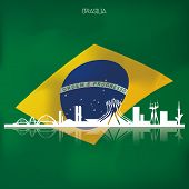 picture of brasilia  - a set of labels and backgrounds with famous places in brasilia - JPG