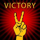 stock photo of victory  - Vector illustration in retro style of a hand with victory sign - JPG