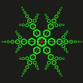picture of psychodelic  - Green snowflake with hexagons over black background - JPG