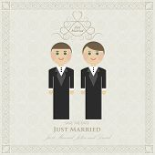 stock photo of gay wedding  - wedding invitation flat gay - JPG