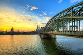picture of koln  - Cityscape of Cologne from the Rhine river at sunset - JPG