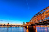 picture of koln  - Cityscape of Cologne from the Rhine river with blue sky at sunset - JPG