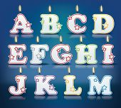 stock photo of candle flame  - Candle letters from A to M with flames  - JPG