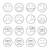 stock photo of emoticons  - Set of 16 emoticons or smileys each with a different facial expression and emotion - JPG