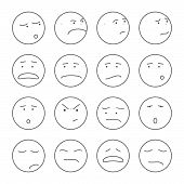 picture of angry smiley  - Set of 16 emoticons or smileys each with a different facial expression and emotion - JPG