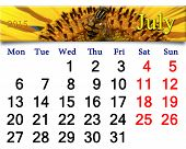 stock photo of time flies  - calendar for July of 2015 with fragment of yellow fly on the sunflower - JPG