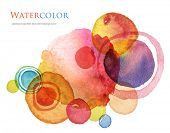 picture of dab  - Abstract circle acrylic and watercolor painted background - JPG