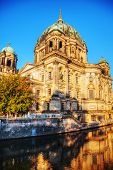 foto of dom  - Berliner Dom cathedral in Berlin Germany at sunrise - JPG