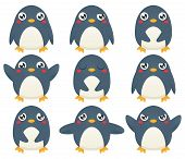 picture of cartoon character  - A collection of nine cartoon penguin characters expression different emotions - JPG