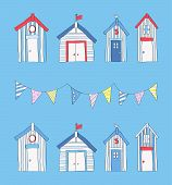 stock photo of beach hut  - A beach theme design with beach huts and bunting - JPG