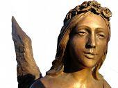 stock photo of metal sculpture  - Golden sculpture of an angel - JPG