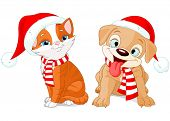 stock photo of christmas puppy  - Illustration of Christmas puppy and kitten - JPG