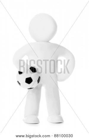 Plasticine man with soccer ball isolated on white background
