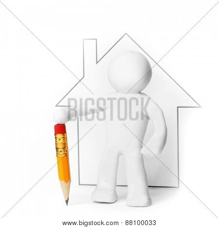 Plasticine man with pencil presenting house isolated on white background