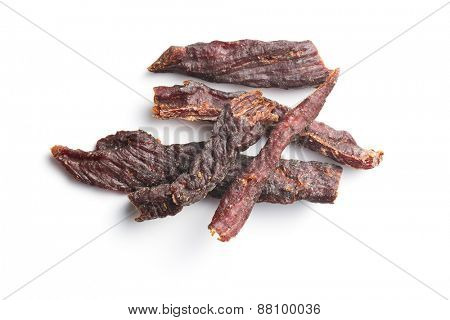 spice beef jerky on white background