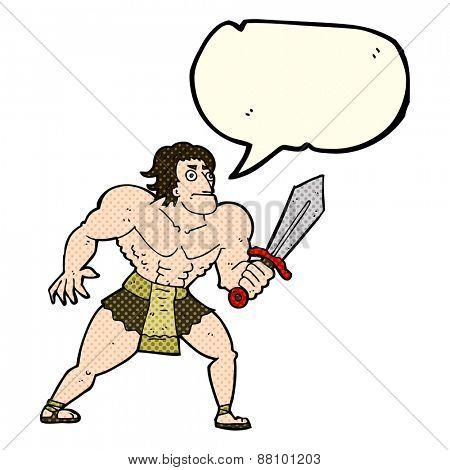 cartoon fantasy hero man with speech bubble
