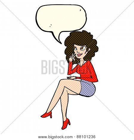 cartoon office woman sitting on edge with speech bubble
