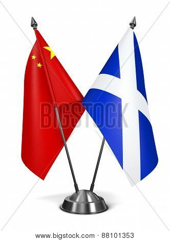 China and Scotland - Miniature Flags.