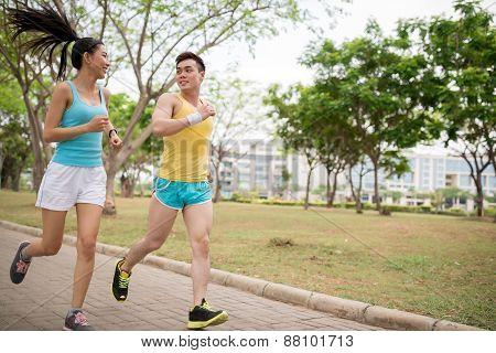 Jogging Vietnamese couple