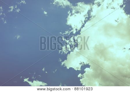Cloud in blue sky  ( Filtered image processed vintage effect. )