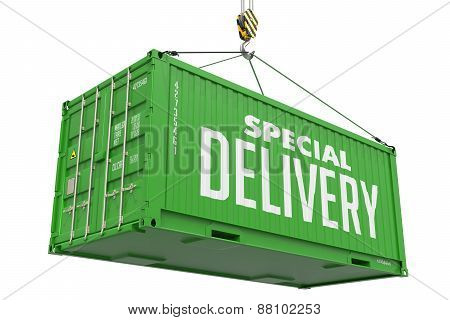 Special Delivery -Green Hanging Cargo Container.