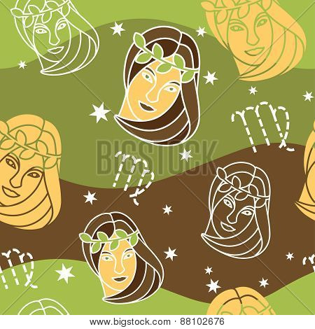 Virgo - Zodiac seamless pattern