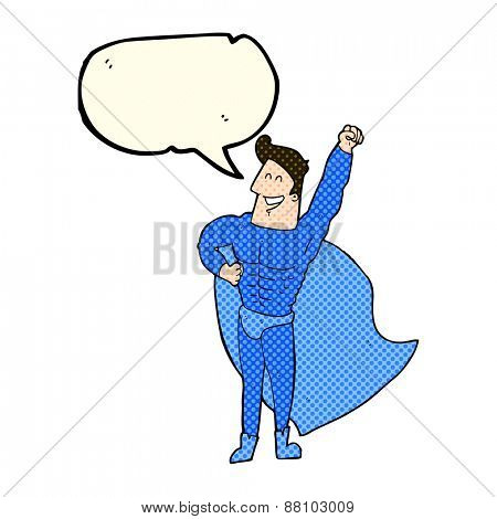 cartoon superhero with speech bubble