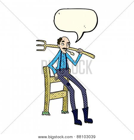 cartoon old farmer leaning on fence with speech bubble