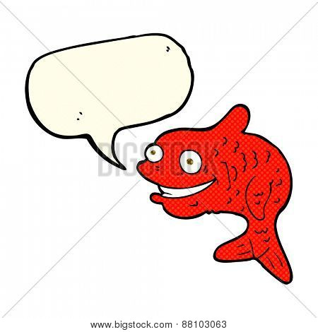 cartoon happy fish with speech bubble