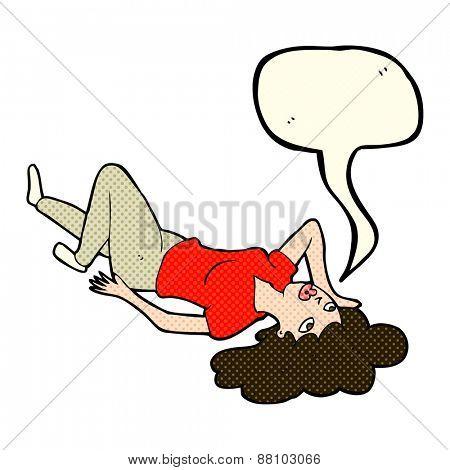 cartoon woman lying on floor with speech bubble