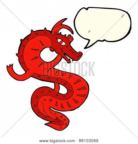 saxon dragon cartoon with speech bubble
