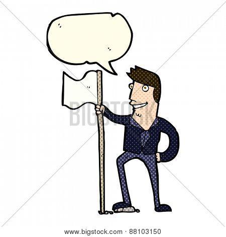 cartoon man planting flag with speech bubble
