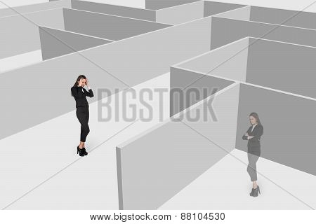 Beautiful businesswonan and her shadow