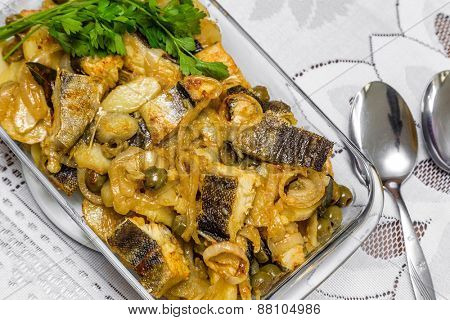 Delicious and traditional portuguese codfish with potatoes