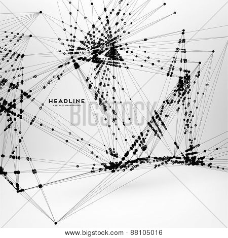 Abstract Background with Dots Array and Lines. Connection Structure. Geometric Modern Technology Concept. Digital Data Visualization. Social Network Graphic Concept.
