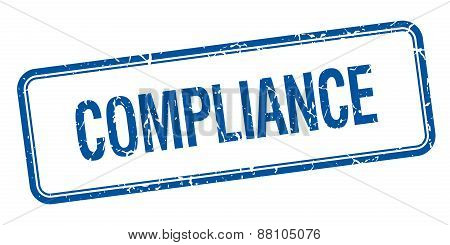 Compliance Blue Square Grungy Vintage Isolated Stamp