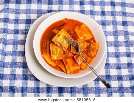 Ravioli In Bowl With Fork