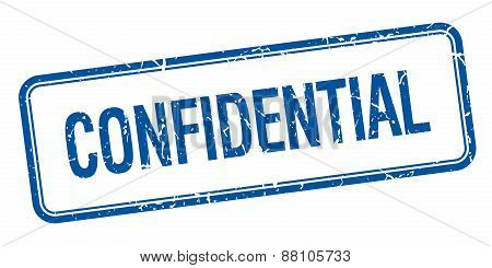 Confidential Blue Square Grungy Vintage Isolated Stamp