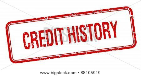 Credit History Red Square Grungy Vintage Isolated Stamp