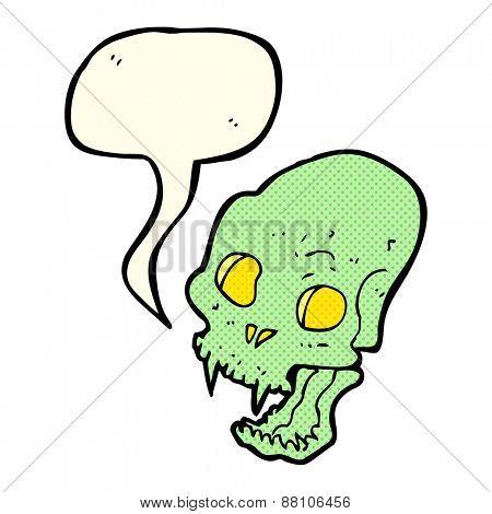 cartoon spooky vampire skull with speech bubble