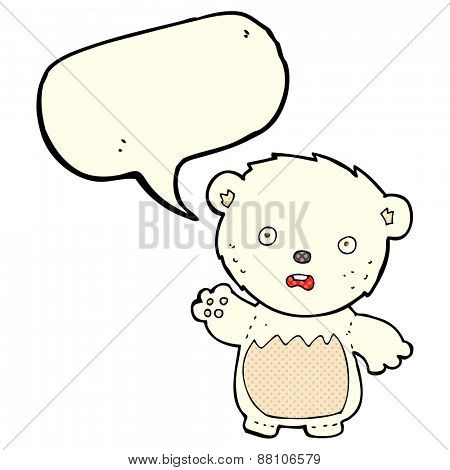 cartoon worried polar bear with speech bubble