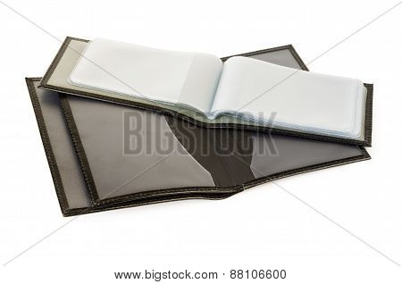 Opened Cover Of Black Leather For Documents And Business Card Holder