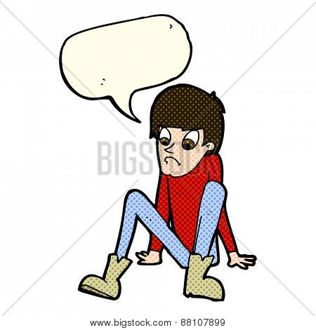 cartoon boy sitting on floor with speech bubble