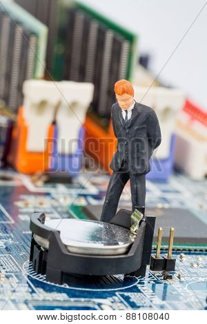 manager on computer board, symbolic photo for computer security, data security, tamper