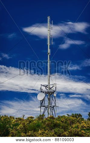 Communication Tower Radio Mast With Antenna Aerial