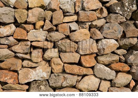 Dry stone wall background texture