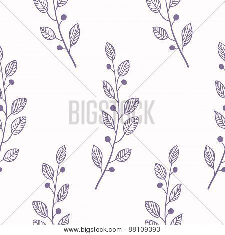 Outline Seamless Pattern Background With Branch
