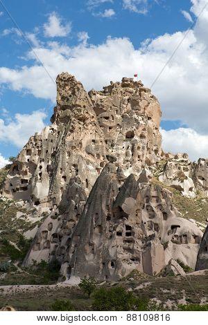 view of Uchisar castle in Cappadocia in Turkey