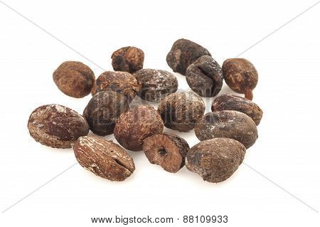 Shea Nuts On White Background, Karite Seeds