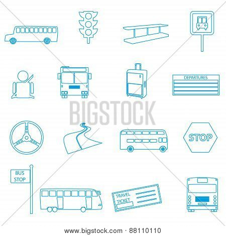 Bus Transport Simple Outline Icons Set Eps10